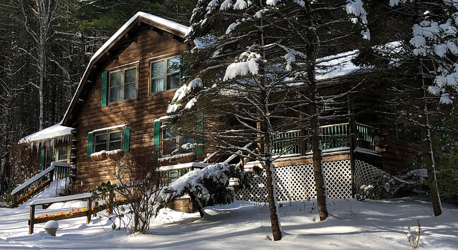 Front of a large log cabin home with many windows and front porch, nestled in the woods with freshly fallen snow