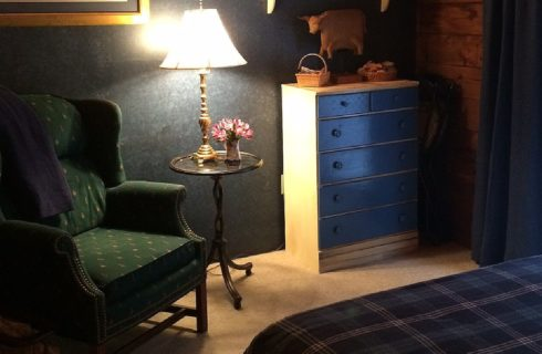 Corner of a bedroom with green upholstered chair, small table holding a lamp, and blue and white dresser next to a patio door