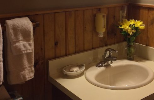 Single sink vanity with soap dish, vase of yellow flowers and white towels hanging on the wall