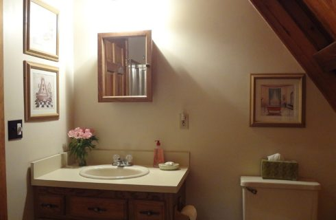 Bathroom with sloped wooden ceiling, vanity with sink and mirror, toilet and three framed prints on the walls