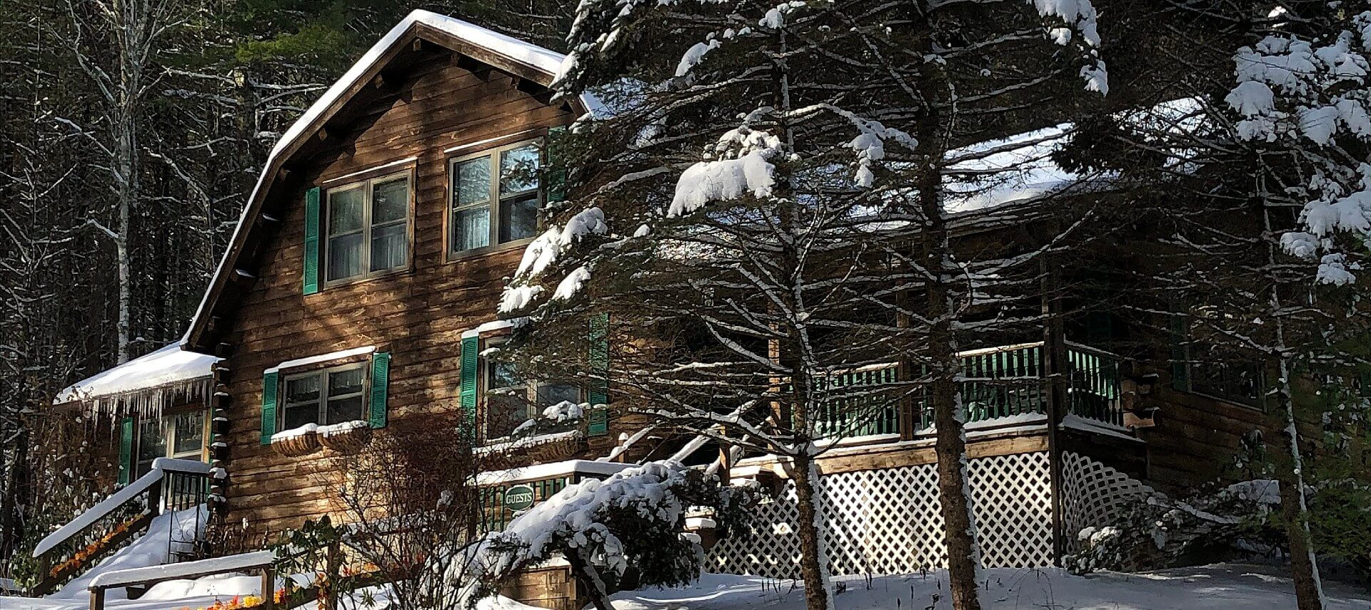 Large wood cabin home with green shutters and front porch nestled in woods covered with snow