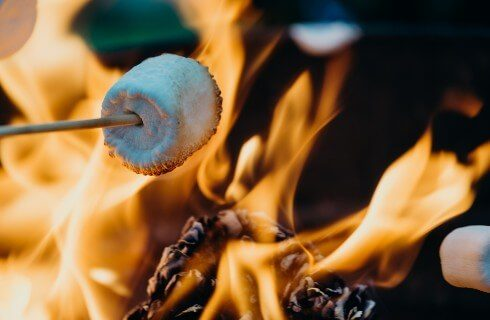 Bright orange flames of a roaring fire with wooden stick holding a roasting marshmallow